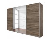 Schwebetürenschrank Quadra (mit Spiegel) - Eiche Havanna Dekor - Breite x Höhe: 136 x 210 cm, Rauch Packs