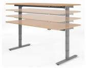 Geramöbel Schreibtisch VALENCIA elektr. Höhenverstellbar 160 x 80 Buche/Silber