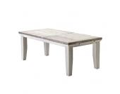 Esstisch aus weißem Kieferholz Weiß-Beige