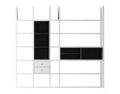 XL Regalwand Emporior III.B - Ohne Beleuchtung - Weiß / Schwarz, loftscape