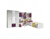 Jugendzimmer Flow (3-teilig) - Kleiderschrank, Bett & Regalwand - Alpinweiß/Brombeer, Rauch Packs