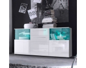 Wohnzimmer Sideboard mit Glastüren Weiß