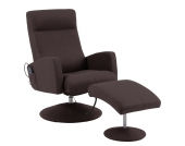 Massagesessel Franklin (mit Hocker) - Lederlook Braun, Nuovoform