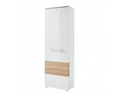 Garderobenschrank Exterior - Hochglanz Weiß / Buche Dekor, Modoform