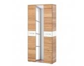 Garderobenschrank Giaveno II - Eiche / Glas Weiß - Metall Chrom, Wittenbreder