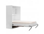 Schrankbett KiYDOO smart - 160 x 205 cm - Bonellfederkernmatratze - Weiß / Nussbaum Dekor, KIYDOO