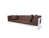 Lounge Sofa in Braun Weiß (7-teilig)