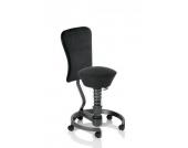 Bürostuhl / Rollhocker SWOPPER WORK Standard (Softex) schwarz mit Lehne u. SPEED-Rollen