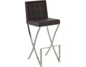 Edelstahl Barhocker BALLINA, Sitzhöhe 78 cm, 7cm hohes Sitzpolster, Kunstlederbezug - aus bis zu 7 Farben wählen