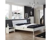 Doppelbett mit Nachtkonsole Weiß