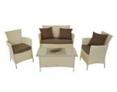 Lounge Sitzgruppe Garnitur aus Polyrattan weiß 4-tlg
